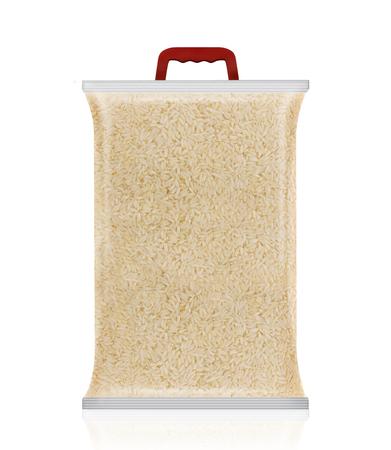 Reisverpackung. Zuckermodell. Leeres Päckchen Reis, Reisbeutel mit Griff Standard-Bild