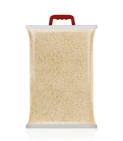 Rice Packaging. Sugar Mockup. Blank Packet of Rice, Rice Bag with Handle