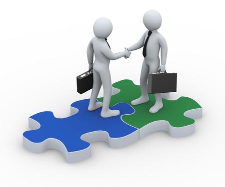 3D-afbeelding van persoon op puzzelstukje handen schudden met zijn zakenpartner. 3D-weergave van de menselijke zakenman karakter