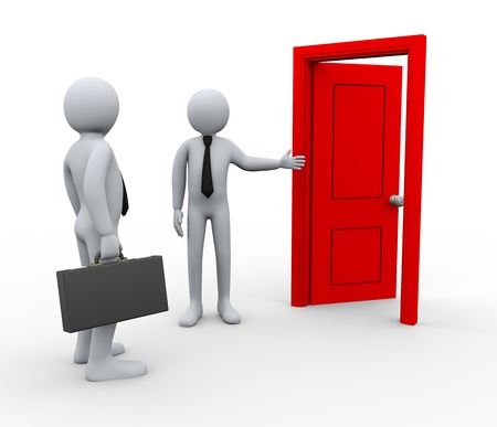 front gate: 3d Illustration of man welcome and invites businessman in front of open door. 3d rendering of people - human character.  Stock Photo