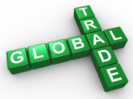 3d illustration of crossword of global trade illustration