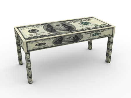 retire: 3d table made from dollar Stock Photo