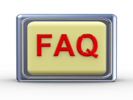 quest: 3d Illustration of shiny faq  button