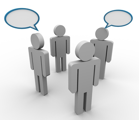 3d illustration of people in group with speech bubble illustration