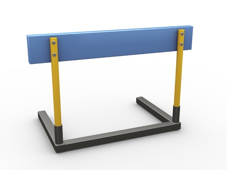 hurdle: 3d illustration of hurdle on white background Stock Photo