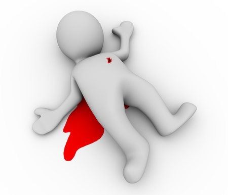 character assassination: 3d illustration of murder man with blood on floor. 3d rendering of human figure and crime scene Stock Photo