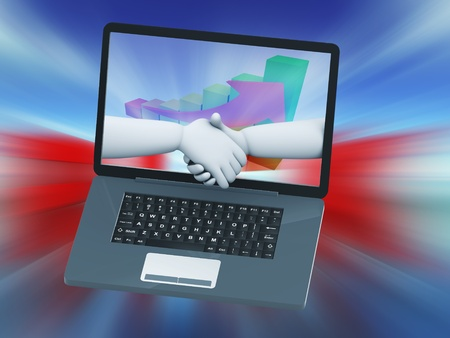 ecomerce: 3d illustration of business partner handshake in laptop on financial progress chart monitor screen.  Stock Photo