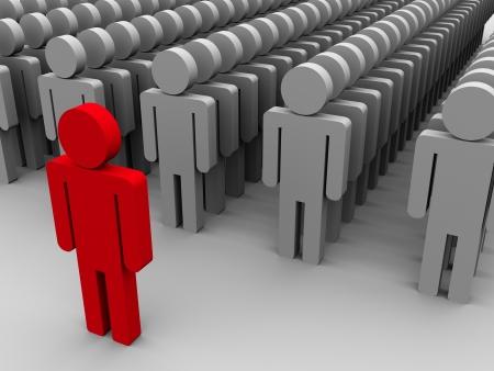 follow the leader: 3d illustratie van de leider met zijn volgelingen