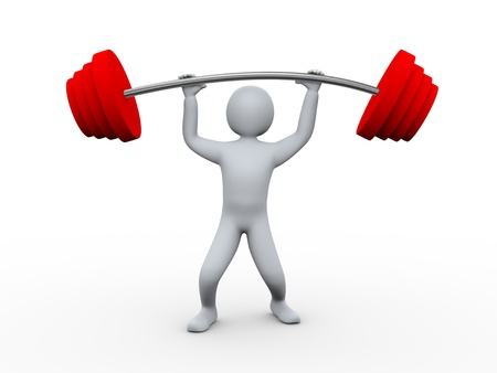hombre deportista: 3d ilustraci�n del hombre atleta de levantamiento de pesas pesadas. Representaci�n 3D de car�cter humano de la gente.