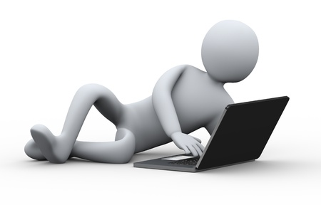 3d illustration of relaxed person working on laptop   3d rendering of human people character  illustration