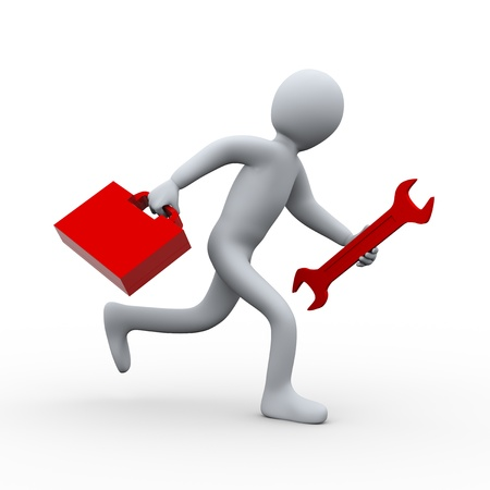 3d illustration of person running with wrench and tool box   3d rendering of people - human character  Stock Illustration - 20946782