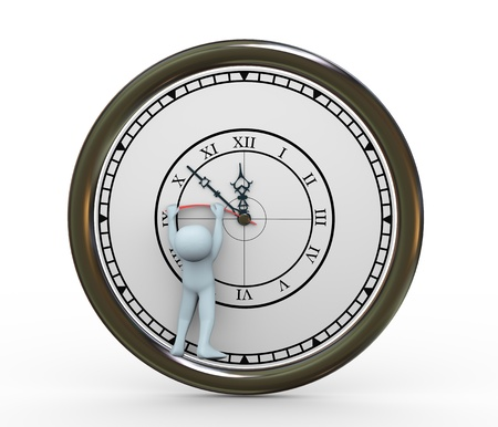 3d illustration of man trying to stop clock   3d rendering of human character illustration