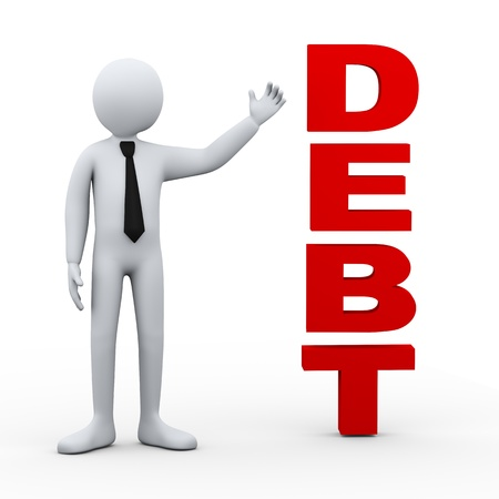 bankruptcy: 3d illustration of businessman presenting concept word debt   3d rendering of human people character  Stock Photo