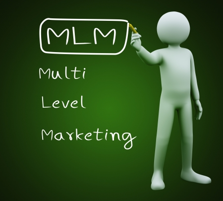mlm: 3d illustration of person with marker writing mlm - multi level marketing  3d rendering of people - human character  Stock Photo