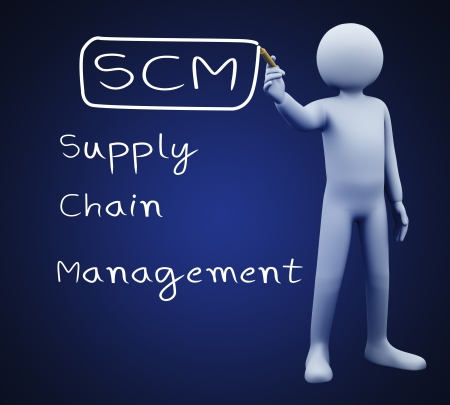 3d illustration of person with marker writing scm supply chain management  3d rendering of people - human character  illustration
