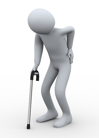 guy with walking stick: 3d illustration of old person walking with the hlep of stickk  3d rendering of people - human character