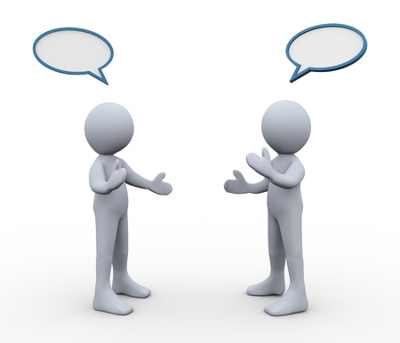 人間の姿の 3 d レンダリングをお互いに話してバブル音声を持つ男性の 3 d イラストレーション