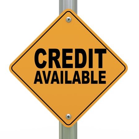 installment: 3d illustration of yellow roadsign of credit available