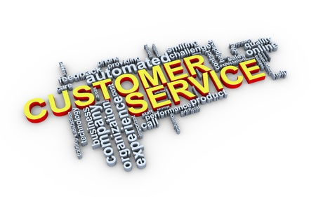value system: 3d Illustration of customer service wordcloud Stock Photo