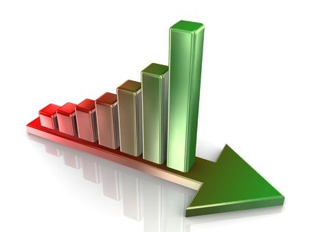 financially: 3d Illustration of progress bars on growing arrow