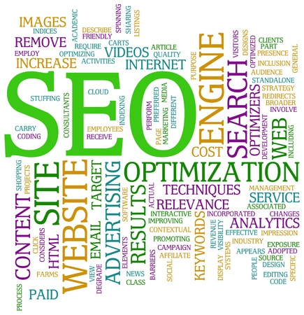 optimizing: Illustration of Seo wordcloud tags Stock Photo