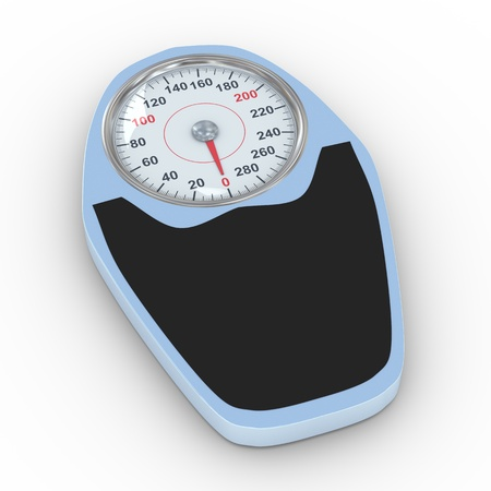 weighing scales: 3d illustration of bathroom weight scale on white background  Concept of dieting, exercise and weight loss