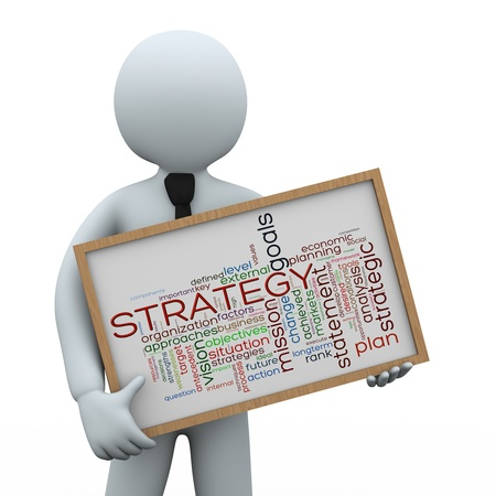 3d illustration of man holding strategy wordcloud words tags board   3d rendering of human people character