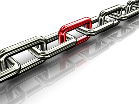 special steel: 3d illustration of chain with unique red link Stock Photo