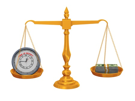 justice court: 3d illustration of clock and dollar packet balance on golden scale