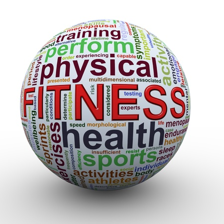 hardiness: 3d Illustration of sphere of fitness Wordcloud word tags  Stock Photo