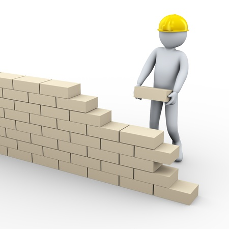 construct: 3d illustration of person building brick wall wall at construction site  3d rendering of people - human character