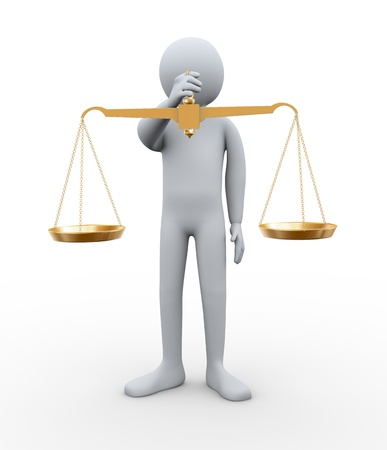 3d illustration of person holding golden scale of balance   3d rendering of people - human character  illustration