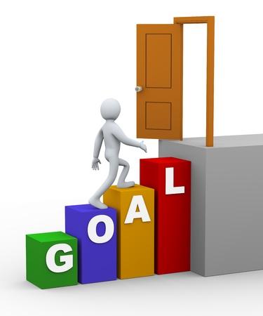 3d illustration of businessman person walking upward on goal progress bars toward target door   3d rendering of human people character