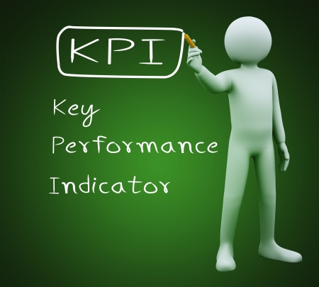 3d illustration of person with marker writing kpi key performance indicator   3d rendering of people - human character  illustration