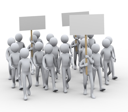 unsatisfied: 3d illustration of people with banner protesting and on strike walk   3d rendering of human people character