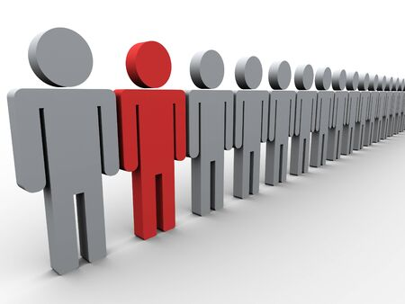 standing out from the crowd: 3d illustration of unique man  Concept of standing out from crowd Stock Photo