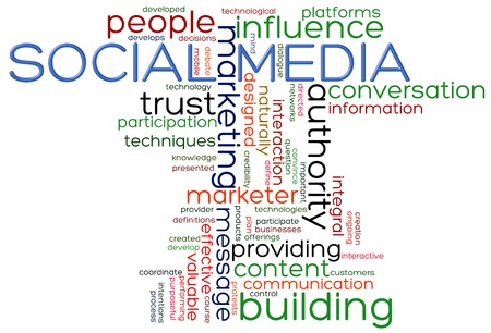 www community: Illustration of words of social media wordcloud Stock Photo
