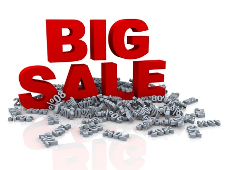 3d illustration of red big sale word and heap of different percentage illustration