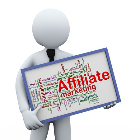 3d illustration of man holding affiliate marketing wordcloud words tags  board   3d rendering of human people character  illustration