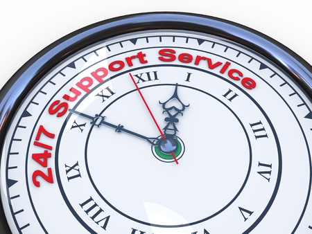 3d illustration of closeup of clock with words 24 7 support service illustration