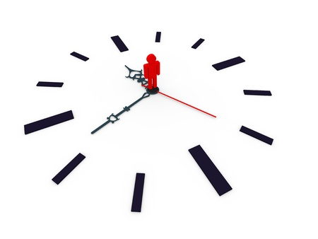 elapsed: 3d illustration of closeup of clock with man standing in the centre