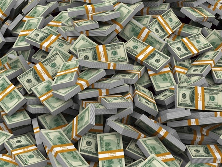 3d illustration of closeup of heap of dollar packs money illustration