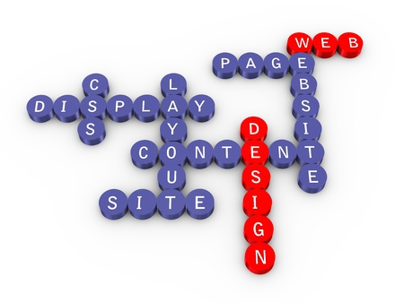 optimize: 3d illustration of crossword of web design Stock Photo