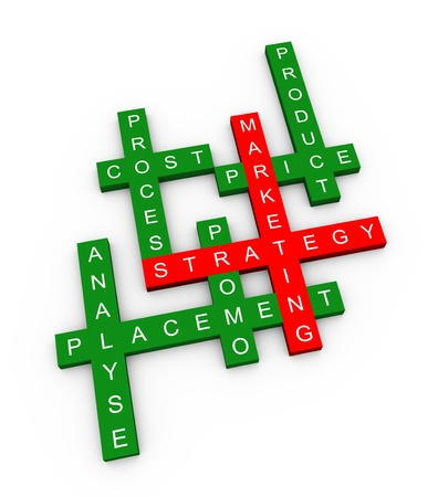 3d illustration of crossword of marketing strategy illustration