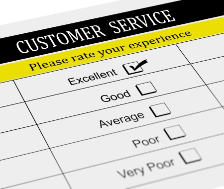 satisfactory: 3d illustration of customer service survey form with tick placed in excellent checkbox