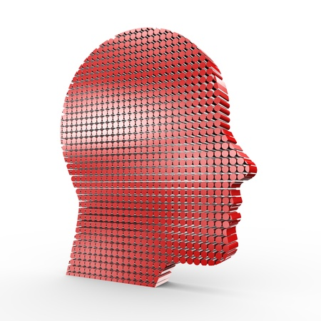3d illustration of human face made with cylinders Stock Illustration - 20958889