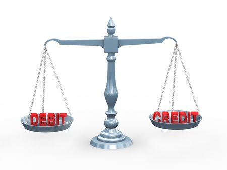 3d illustration of accounting term debit and credit on balance scale illustration