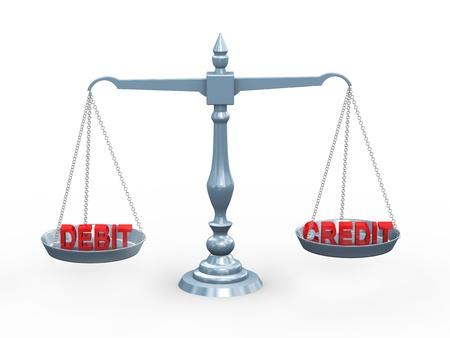 balanza en equilibrio: 3d ilustraci�n de la contabilidad de d�bito y de cr�dito en t�rmino balanza Foto de archivo
