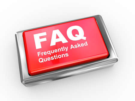 asked: 3d illustration of faq frequently asked questions button  Stock Photo