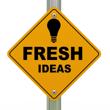 3d Illustration of bulb and fresh ideas road sign illustration